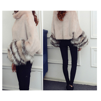 CHEWIES Women Shawl Jacket Winter Natural Rex Rabbit Fur Coat Poncho Genuine Fox Seleeves New Arrival Factory Outlet 9.19
