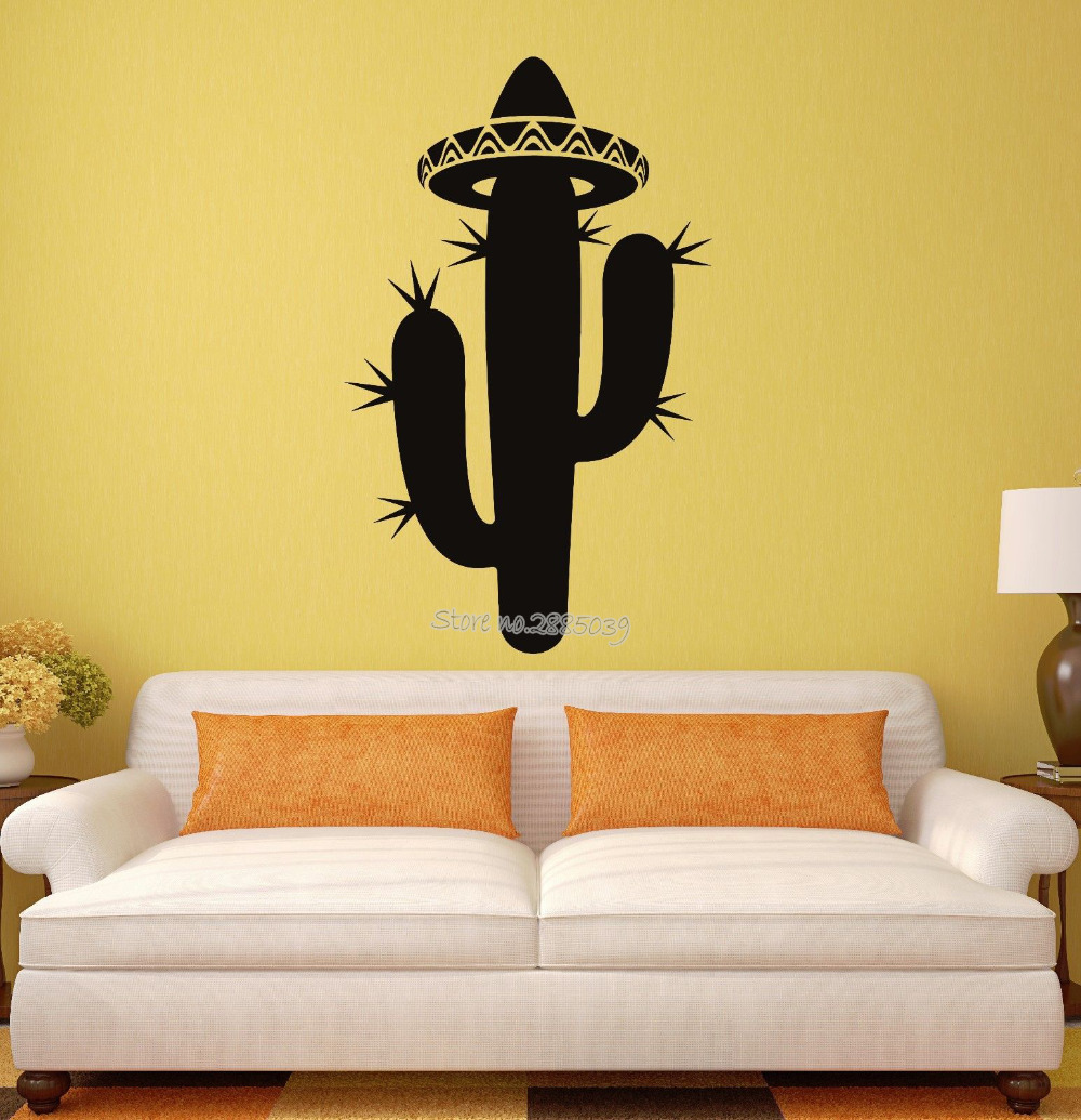 New Style Hat Wall Decal Cactus Sombrero Mexico Latin America Travel ...