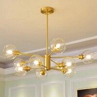 Современный минималистский золотисто медный Творческий молекулярная лампа Nordic гостиная люстра E27 декоративные домашнего освещения лампы
