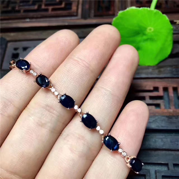 Promotion sapphire bracelet natural dark blue sapphire gemstone bracelet solid 925 silver gemstone bracelet