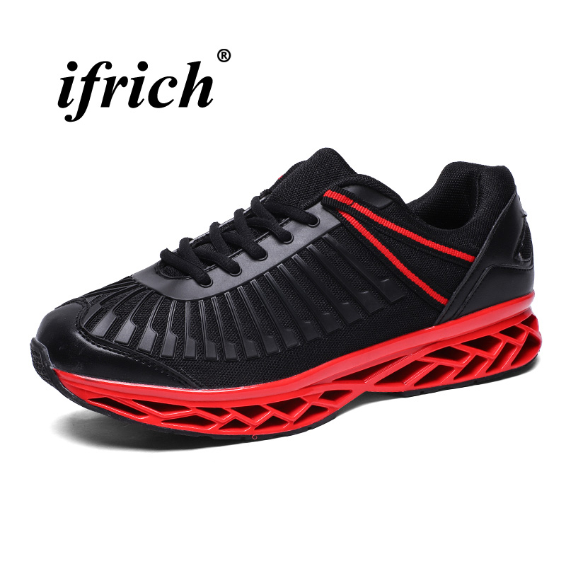 Men Sneakers Black Red Sport Shoes Mesh Running Sneakers Lace Up Athletic Footwear Breathable Anti-slip Trail Running Shoes