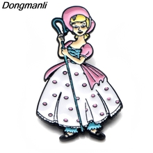 P3863 Dongmanli Fashion Bo Peep Cute Metal Enamel Brooches and Pins Collection Lapel Pin Backpack Badge Collar Jewelry
