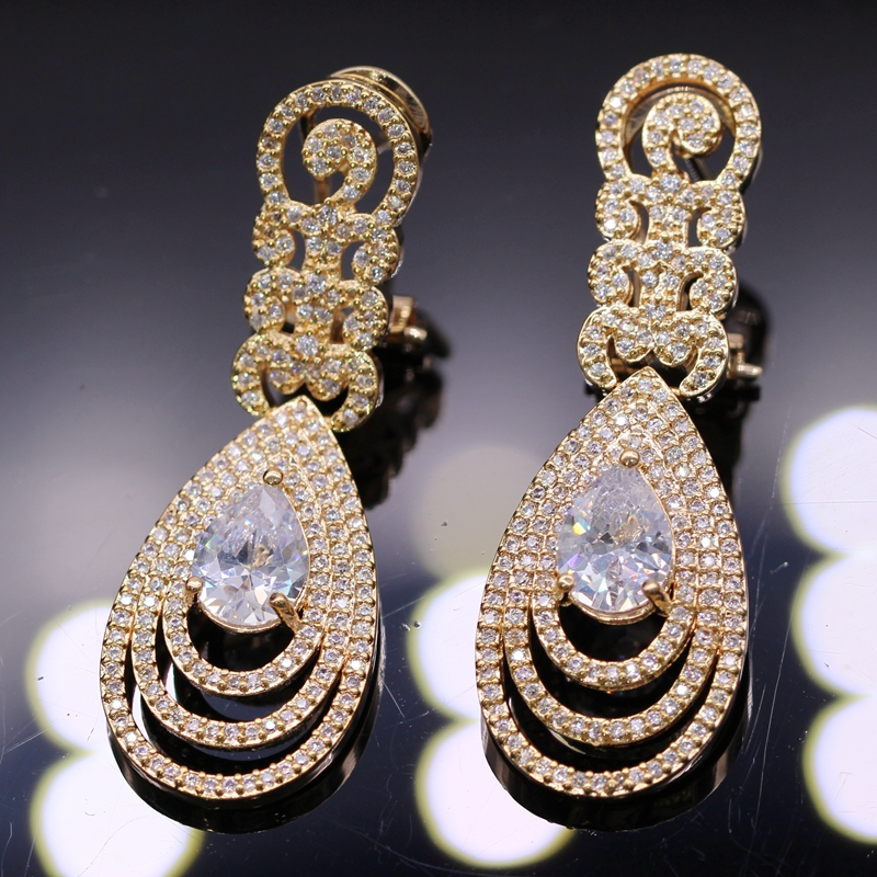 GZJY Top Quality Champagne Gold Color African Cubic Zircon Stones Big Wedding Bridal Costume Jewelry Sets For Women Party