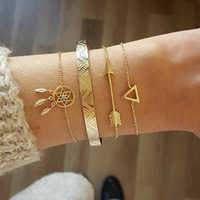KISSWIFE 4 teile/satz Vintage Geometrische Pfeil Kristall Kette Gold Armbänder Damen Böhmischen Strand Armreif Schmuck