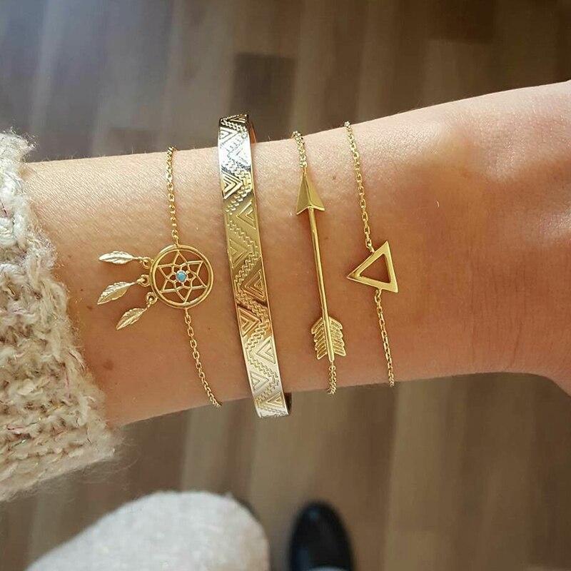 KISSWIFE 4 Pcs/Set Vintage Geometric Arrow Crystal Chain Gold Bracelets Ladies Bohemian Beach Bangle Jewelry(China)