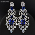 Vintage Royal Blue Bridal Jewelry Luxury Cubic Zirconia Synthetic Diamond 7 CM Long Chandelier Earrings For Wedding ER310