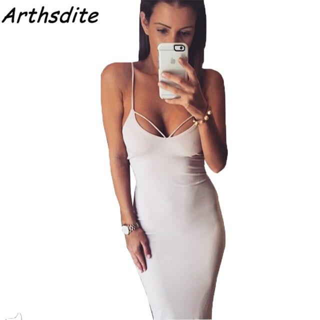 34d34746ac2e Arthsdite 2017 Hot White Red Black Lace Up Backless Spaghetti Strap Skater  Dress Women Sheath Sleeveless Sexy Dress