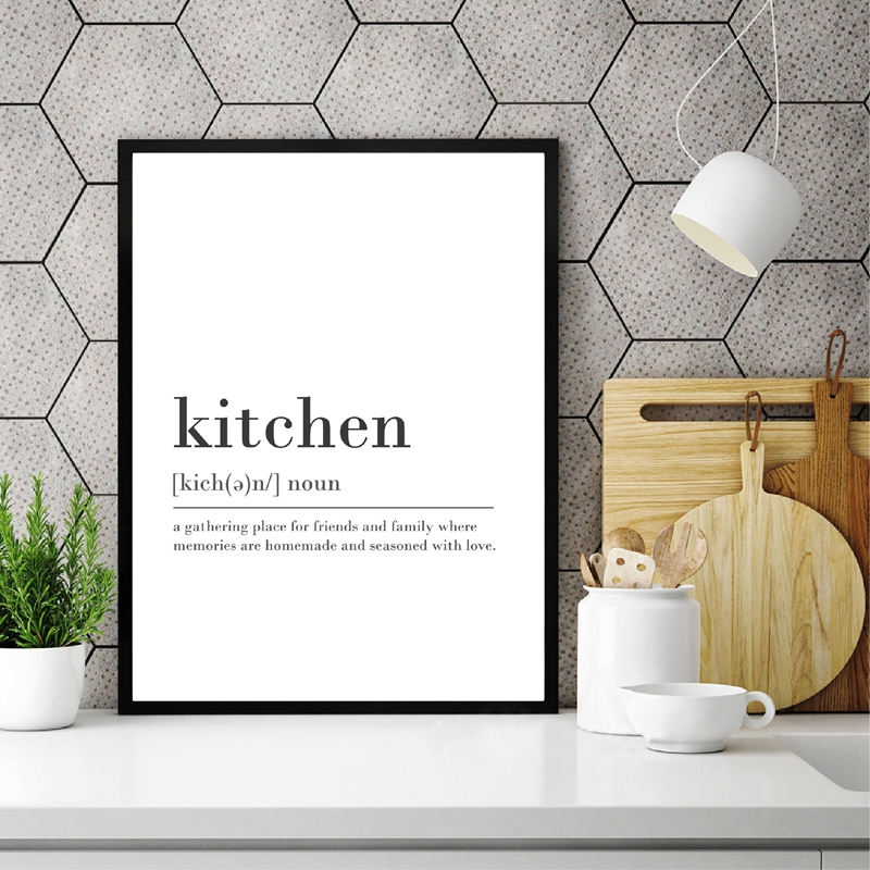 Abstract Kitchen Definition Sign Print Canvas Painting Modern Minimalist Quotes Art Posters Bar Kitchen Room Decor Wall Picture