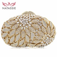 NATASSIE 2017 New Flower Crystal Evening Bags Women Clutch Bag Diamond Party Purse And Handbags Lady