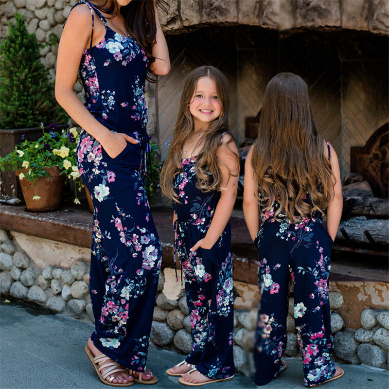 Mommy And Me Jumpsuit 2019 Summer Sleeveless Suspenders Floral Printed Romper Mother And Daughter Off Shoulder One-piece Clothes