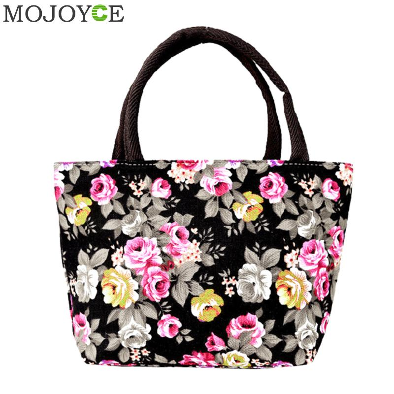 Lovely Flower Printed Handbag Female Tote font b Bags b font Small Canvas Handbag Women Casual