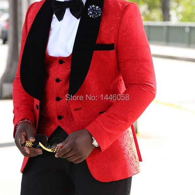 Best Selling 2017 Custom Made Formal Wear Red/White/Black Men Wedding Suits Prom Tuxedo Men Suit 3 Piece (Jacket+Pants+Vest+Bow)