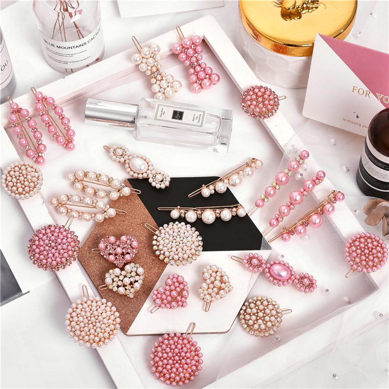 Fashion Pink Pearl Hair Clips For Girls Rhinestone Snap Hairpins For Women Hairgrips Barrette Adult Hair Accessories