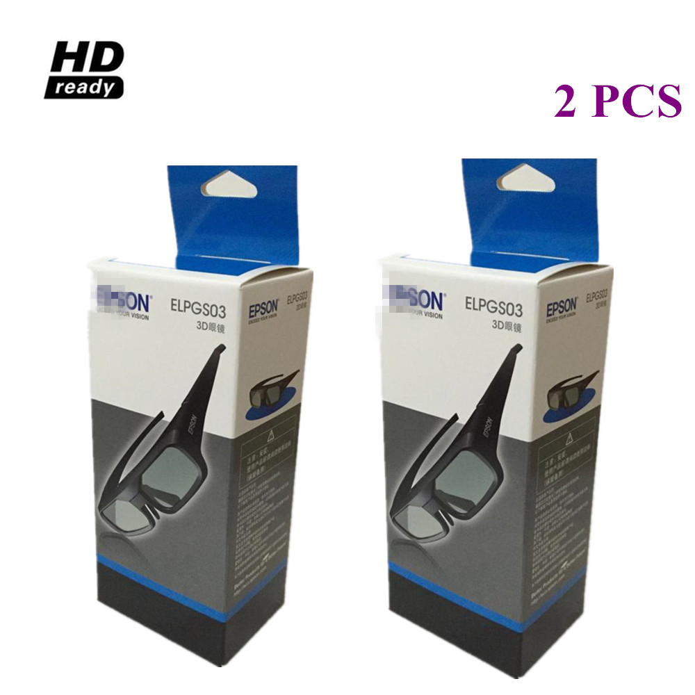2pcs 3D Active Glasses for Epson 3D Glasses ELPGS03 for Projector TW5200/9200/TW6200/TW8200