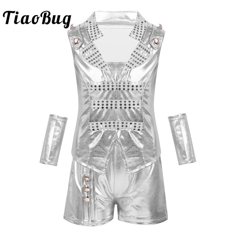 TiaoBug Unisex Kids Stage Performance Hiphop Jazz Dance Costume Set Boys Girls Shiny Metallic Top Vest Shorts Street Dancing Set