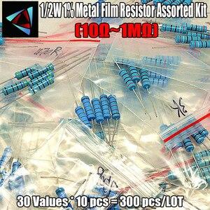 NEW! 1% 1/2W Metal Film Resistor Assorted Kit 30Values*10pcs=300pcs (10 Ohm ~1M Ohm)(China)