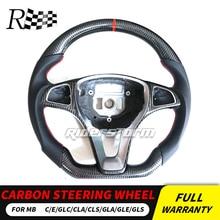 W205 углерода руль для Mercedes W205 w213 w117 gla GLC GLE CLA GLS класс CLS углеродного волокна руль