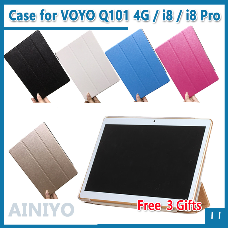 Ultra thin case For Voyo q101 4g / i8 / i8pro Stand Pu Leather protective case for voy i8 pro 10.1 inch tablet pc + free 3 gifts w 1 ultra thin protective pc back case for iphone 6 translucent yellow