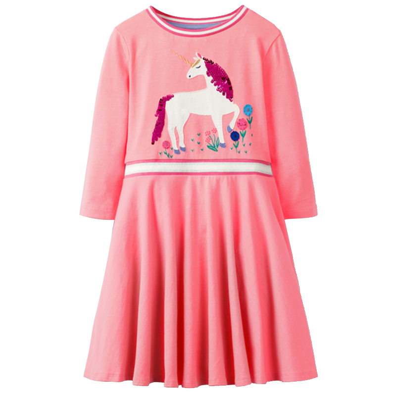 Spring Autumn 2019 New Brand Girl Party Dress For Girls Sequin Unicorn Princess Dress 100 Cotton Kids Girls Dress 1 10 Years in Dresses from Mother Kids