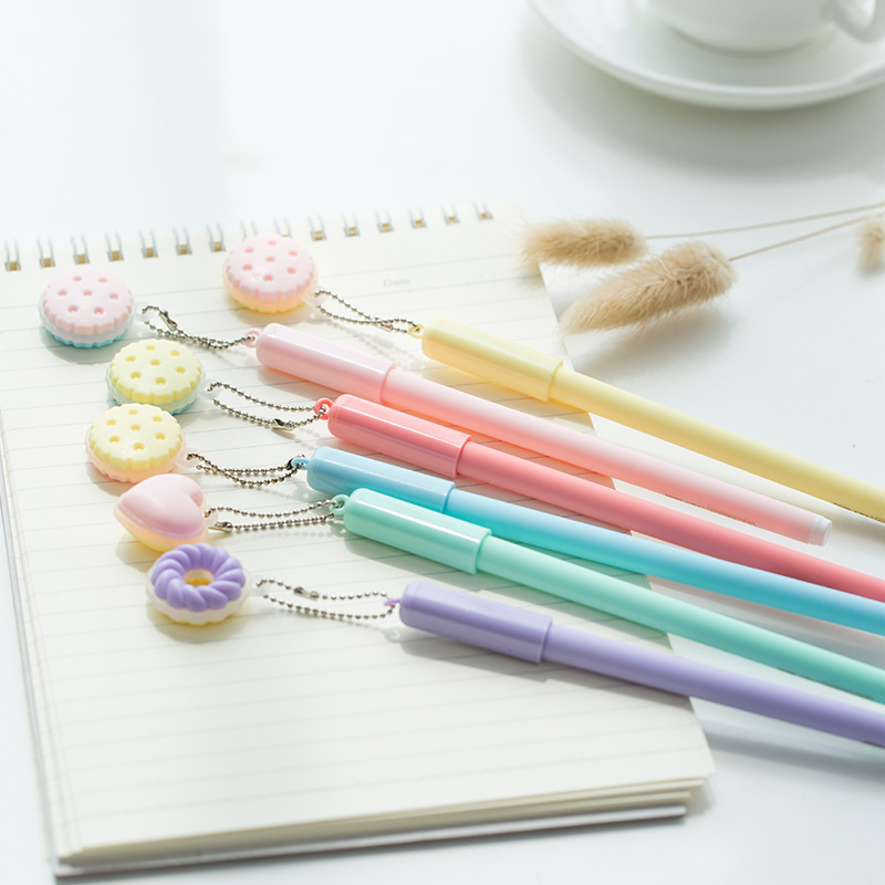 5 Pcs Macaron Color Gel Pen Sweet Heart Cookie 0.5mm Ballpoint Blue Ink Pens Writing Stationery Office School Supplies A6441