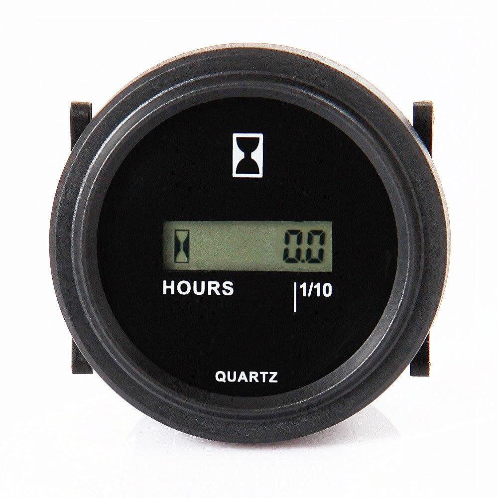 Round LCD Digital Hour Meter Gauge Quartz Gauge 4 5 90V DC