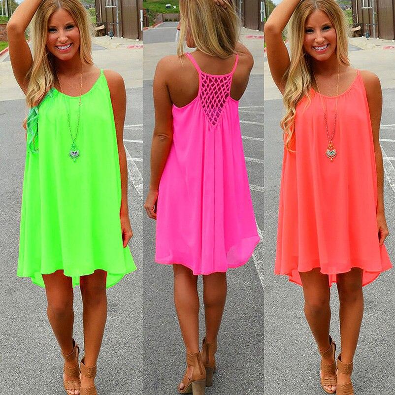 Women beach Fluorescence summer dress chiffon women dress 2017 summer plus size women clothing ملابس نساء صيف 2017