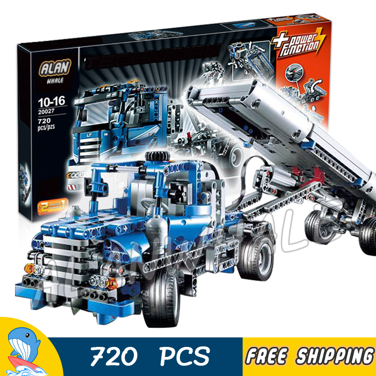 720pcs Techinic 2in1 Motorized Container Truck 20027 DIY Model Building Kit Blocks Electirc Motors Toys Compatible With lego 1401pcs 2in1 techinic motorized crawler