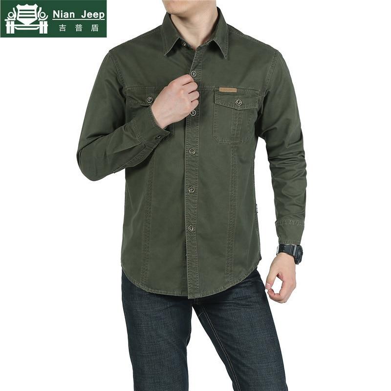 New Arrivel Shirt Men 2018 Fashion 100% Cotton Military Shirt Men Autumn Spring New Casual Long Sleeve Camisetas Hombre 5XL