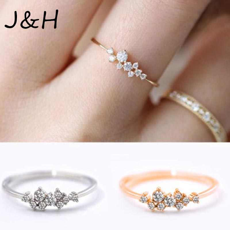 Fashion Jewelry Hemp Flowers Ring Weave Crystal Gold Silver Micro Cubic Zirconia Tail Ring For Women Girls Drop Shipping