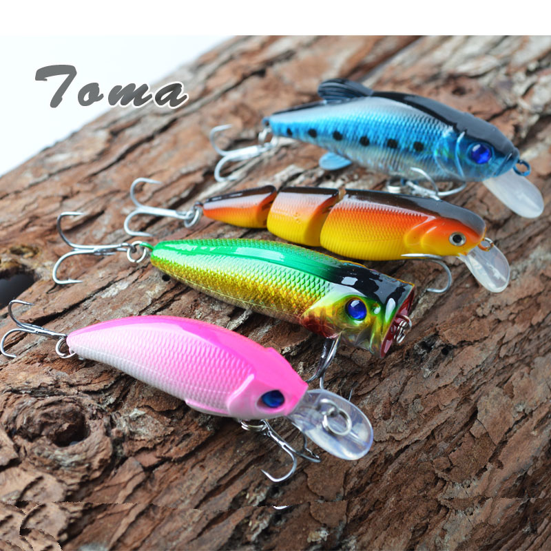 TOMA 4PCS Hard Bait Minnow Crank Fishing Lures Kit 9g 10g 11g Isca Artificial Plastic Fishing Lure Floating Fishing Wobblers 10pcs 10cm plastic hard fishing lures saltwater fishing bass pike deep diver floating artificial fishing wobblers lure hooks