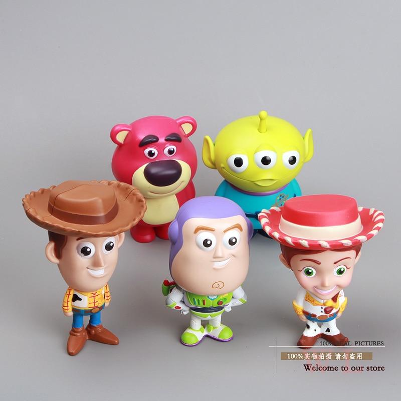 Cute Hot Cartoon Movie Woody Buzz Lightyear Jessie Lotso Mini PVC Action Figure Model Toys Dolls with Retail Box 8cm 5pcs/set