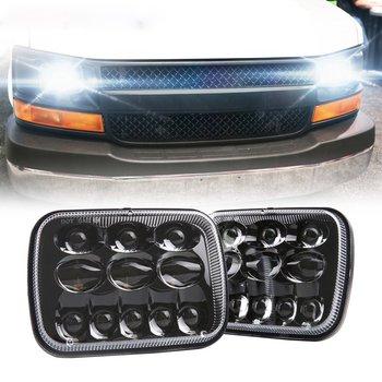 5x7 DOT 7x6 inch LED Headlights Headlamps Bulbs Projector Headlight Lights Set Kit Smoke for Jeep Cherokee XJ Toyota Tacoma
