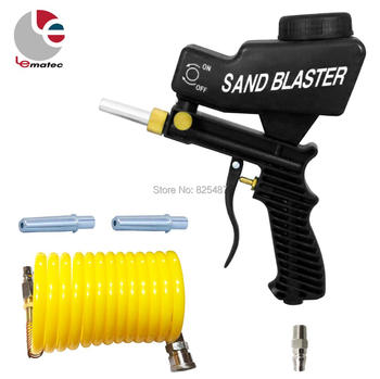 цена на LEMATEC Sandblasting Gun with 1/4 Quick Connector Nylon Air Hose Portable Pneumatic Tools Taiwan Made Abrasive Tools