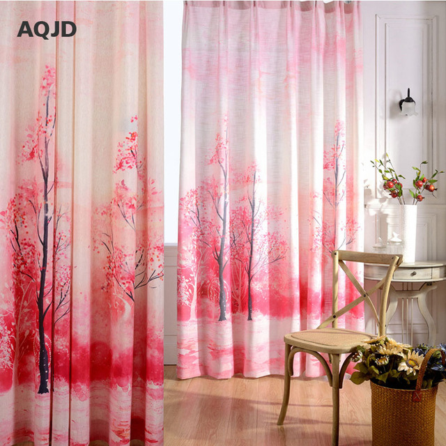 AQJD Red Peach Series Printing Jacquard Art Modern Polyester Cotton ...