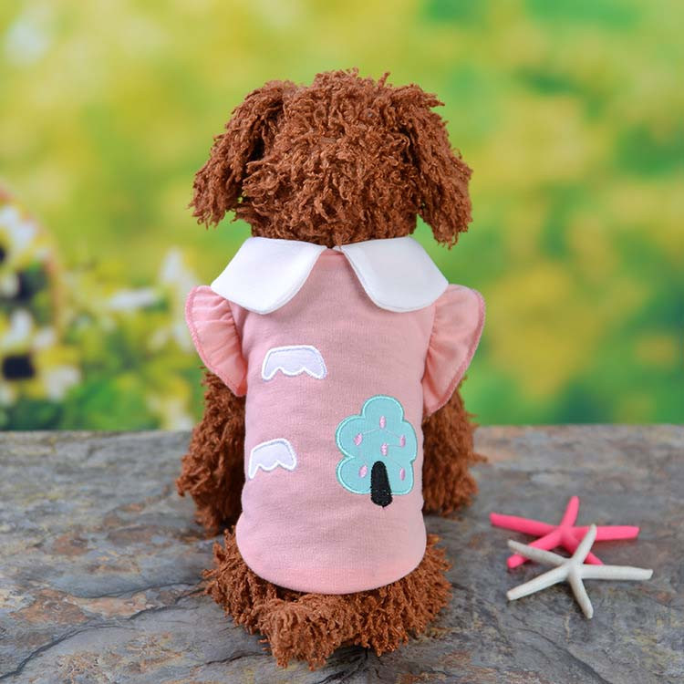 Fresh Cute Dog Coat Shirt For Small Dogs Puppy Pet Cotton T-shirt Vest Teddy Chihuahua Clothes in Spring and Summer Blue Yellow Pink Purple7