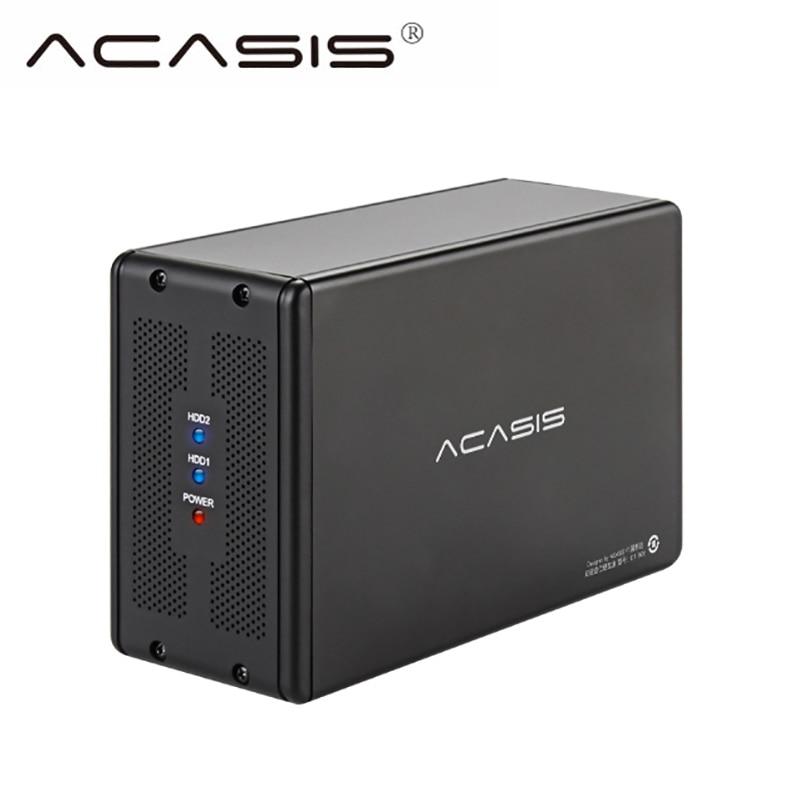 Acasis HDD Station D'accueil Double Boîte de Disque Dur Externe SATA USB 3.0 En Aluminium 3.5 Cas Hdd Caddy Ordinateur Portable boîte HD Extemo