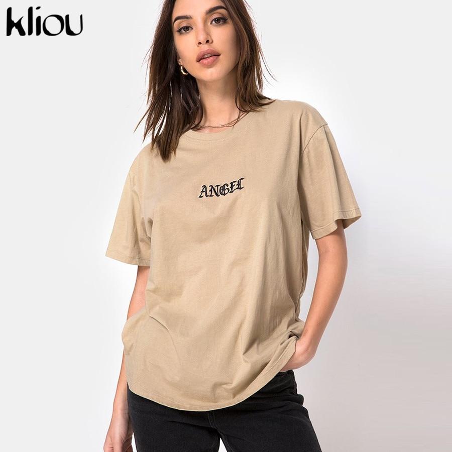Kliou women casual t-shirt long loose top 2019 summer female o-neck short sleeve fashion street tshirt letter print top tee