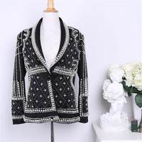 Woman New High Quality Women Blazer Jackets Coat Fashion Paris Brand Designers Beaded Embellished Blazer Jacket Clothes Coat