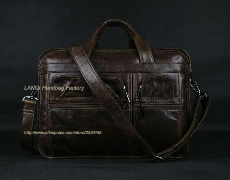 Kostenloser Aktentaschen Laptop Versand Luxus Brown Umhängetasche Herren Leder Echtem tasche Aktentasche Männer Für Business wwPp6ZCq