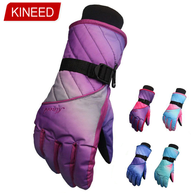 KINEED 5 color Skiing Gloves for women Winter Warm Snow cold Outdoor sport Bike Cycling Gloves Snowboard wind stopper mittens