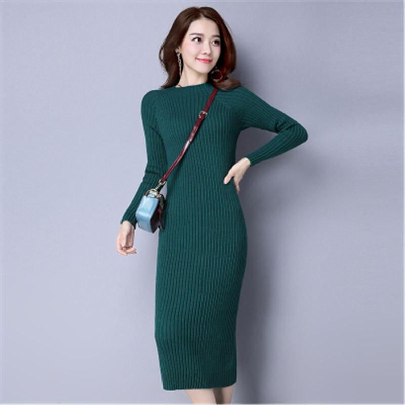 918d6699c ... 2018 New Autumn Winter Long Knit Dress Female Korean Cashmere Shirt  Plus Size Half Turtleneck Sweater ...