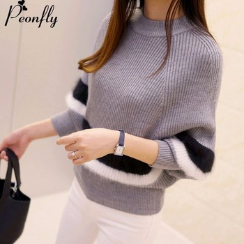 PEONFLY 2018 Autumn Women Sweaters Fashion O-Neck Batwing Striped Pullovers Plus Size Loose Knitted Sweaters Female Jumper Tops