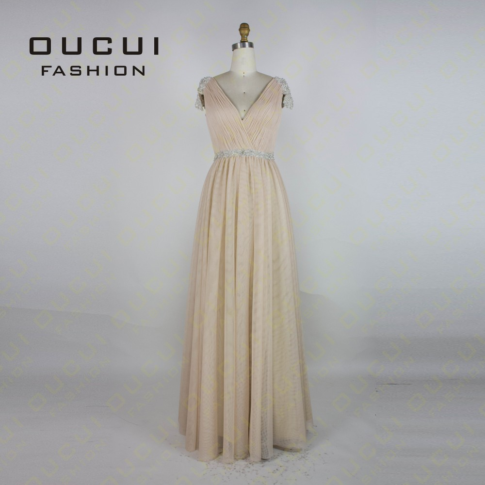 Tulle Fabric Pleat With Beading Handwork Bridesmaid Mermaid Long Prom Dress With Stones OL102785 vestido de festa de casamento 6