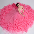 Pink Beaded Cloud Wedding Dresses 2016 Robe de mariage Custom Party Sleeveless Cloud Ball Gown Princess Pregnant Bridal Gowns