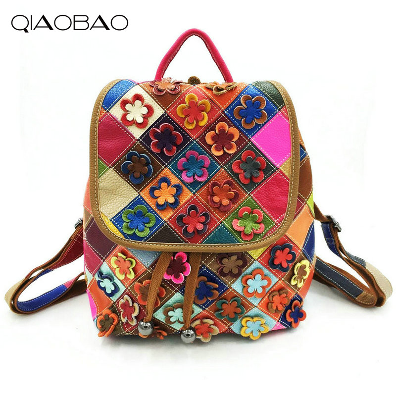 QIAOBAO New Fashion Appliques Genuine Leather Backpack Women Bags Preppy Style Backpack Girls School Bags Flower Shoulder Bag tegaote new design women backpack bags fashion mini bag with monkey chain nylon school bag for teenage girls women shoulder bags