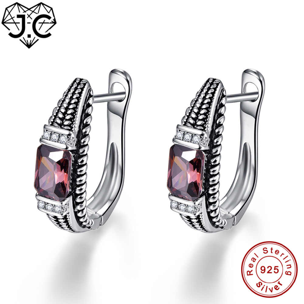 JC für Frauen Solitaire Party Spessartine Granat & Blautopas Genuine Feste 925 Sterling Silber Ohrringe Edlen Schmuck Ohrringe