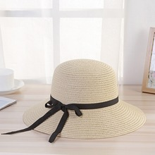 Hats/Caps Summer Wide Brim Sun Hats For Women Foldable UV Protection Panama Leisure Bowknot Straw Hat Ribbon Solid Beach Cap