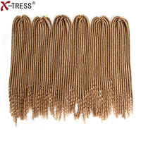 X TRESS 20 120Roots 6Pcs Pack Faux Locs With Curly Ends Crochet Hair Braids Kanekalon Synthetic