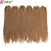 X TRESS 20 120Roots/6Pcs/Pack Faux Locs With Curly Ends Crochet Hair Braids Kanekalon Synthetic Braiding Hair Extension