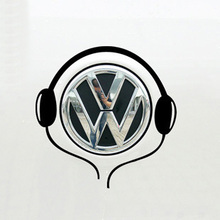 Reflective car sticker music earphones polo beetle headset personalized case for VW fiat